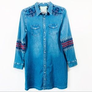 Johnny Was Dresses - Johnny Was 3J Workshop Chambray Embroidered dress